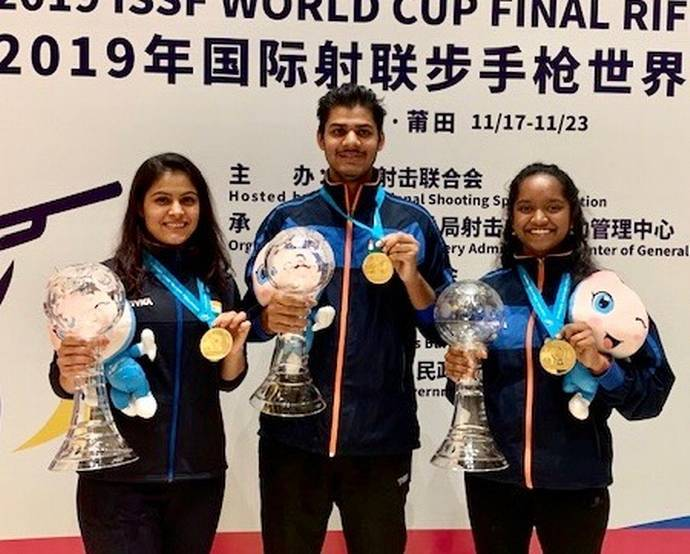 ISSF WC Final: Manu, Elavenil, Divyansh treat India to triple gold